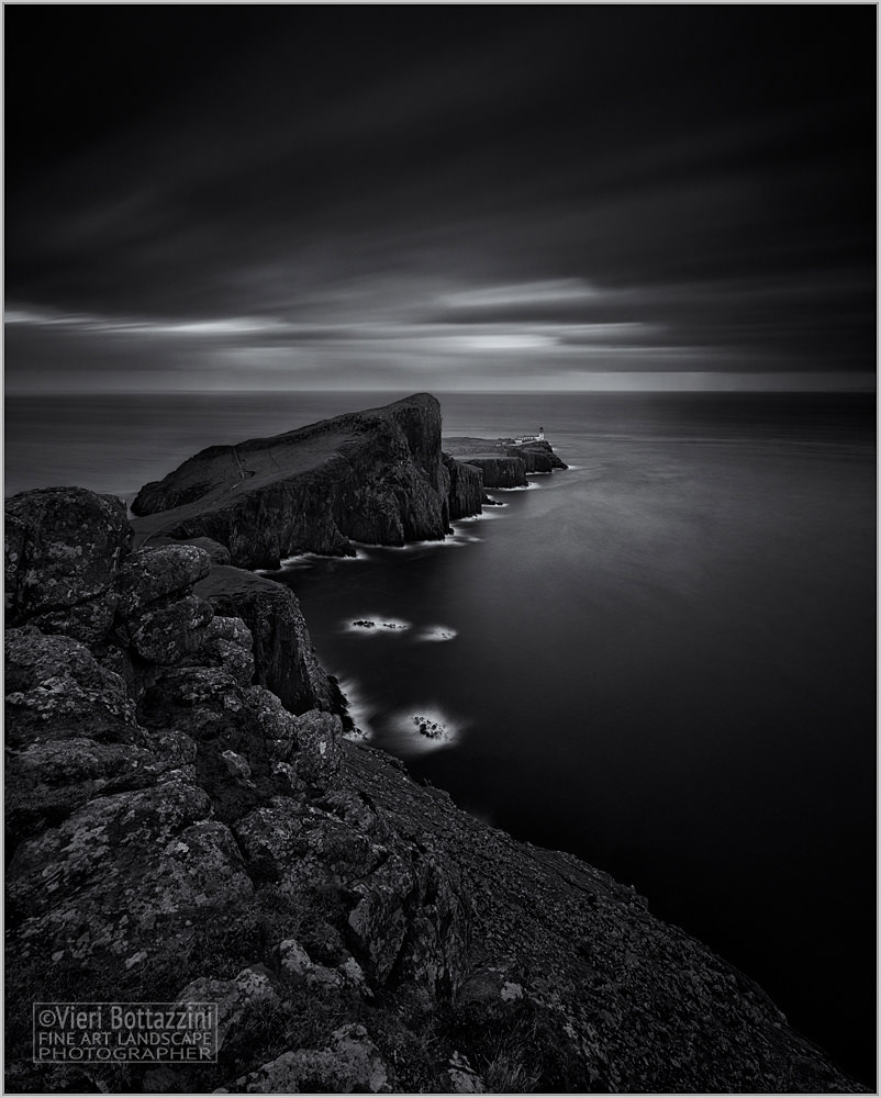 Dark, minimalist B&W Neist Point sunset