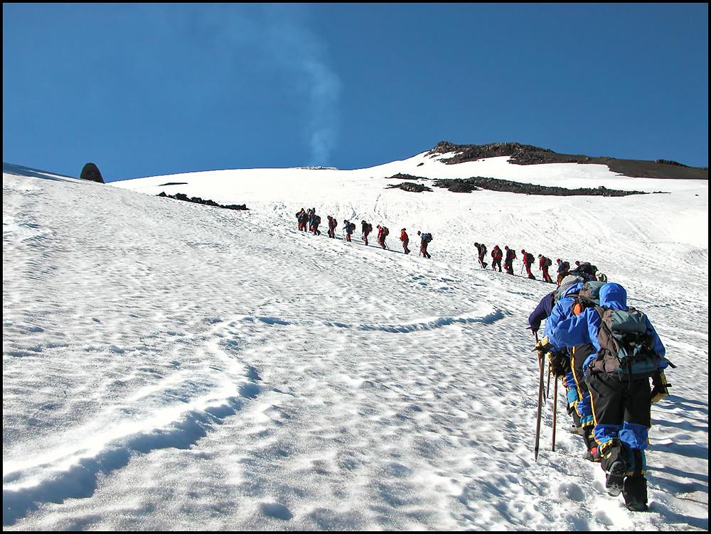 Hiking to volcano borders